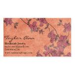 Tarjeta de visita coralina y púrpura de la flor