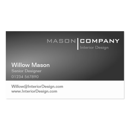 Tarjeta de visita corporativa gris y blanca