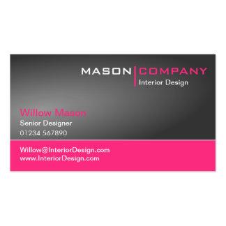 Tarjeta de visita corporativa gris y rosada