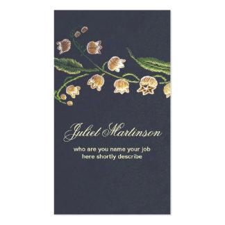 tarjeta de visita cosida de las flores