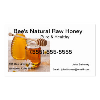 Tarjeta de visita cruda de la miel