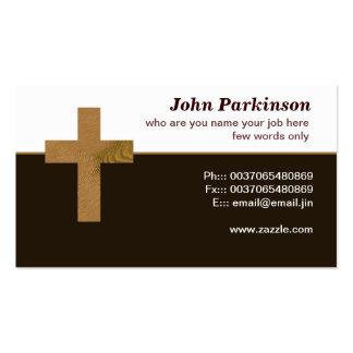 tarjeta de visita cruzada cristiana de madera