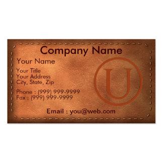 tarjeta de visita cuero carta U