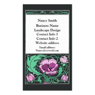 Tarjeta de visita de Beardsley del diseño floral