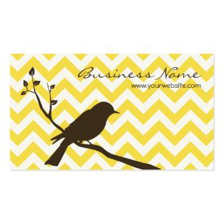 Tarjeta de visita de Chevron del pájaro (amarillo)