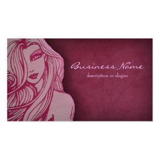 Tarjeta de visita de color rosa oscuro de la mujer