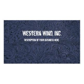 Tarjeta de visita de cuero equipada azul