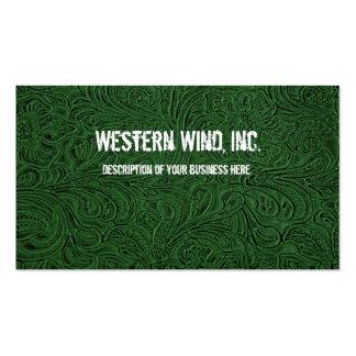 Tarjeta de visita de cuero equipada verde
