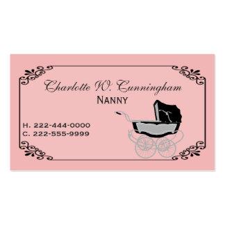 Tarjeta de visita de encargo de la niñera rosada y