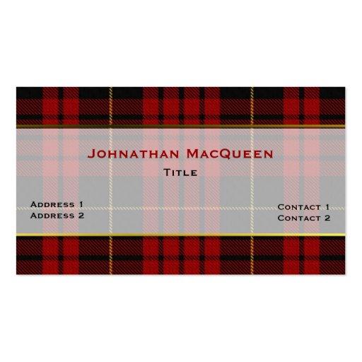 Tarjeta de visita de encargo de MacQueen de la tel