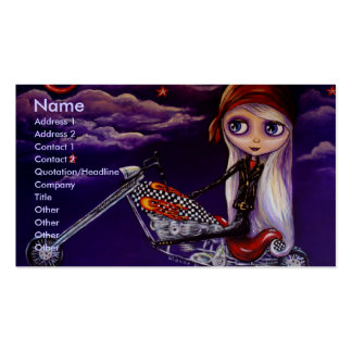 Tarjeta de visita de Harley del chica del motorist