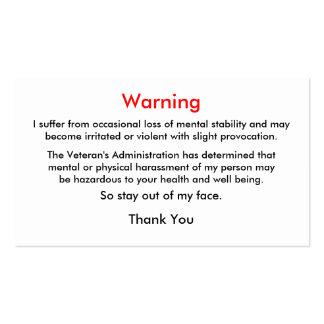 Tarjeta de visita de la advertencia del veterano