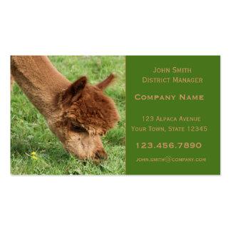 Tarjeta de visita de la alpaca
