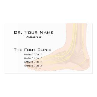 Tarjeta de visita de la anatomía del pie
