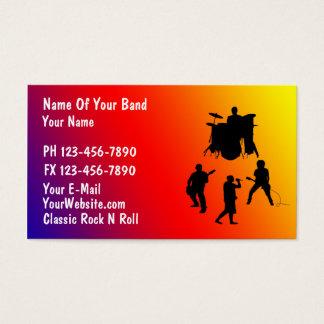 Tarjeta de visita de la banda de rock