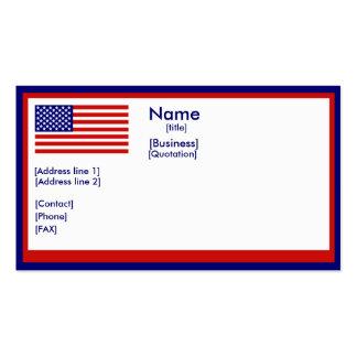 Tarjeta de visita de la bandera de Amerrican