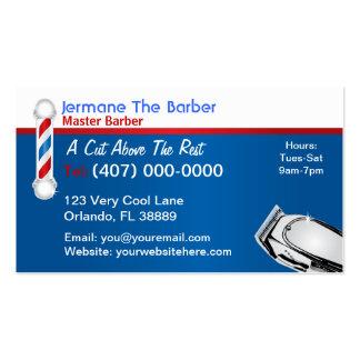 Tarjeta de visita de la barbería polo y podadoras