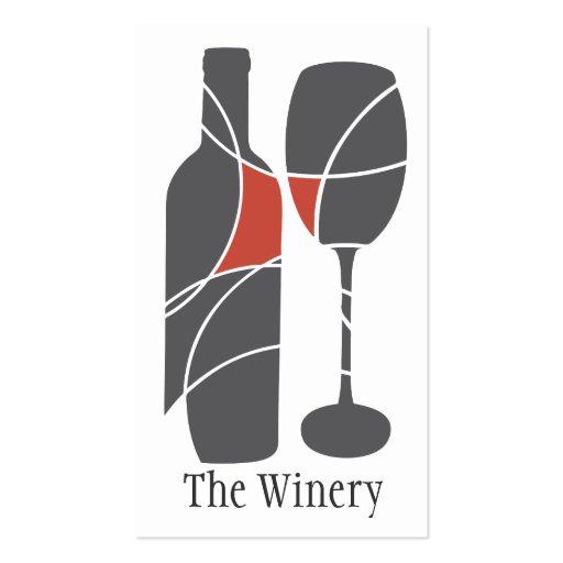 Tarjeta de visita de la botella y del vidrio de vi