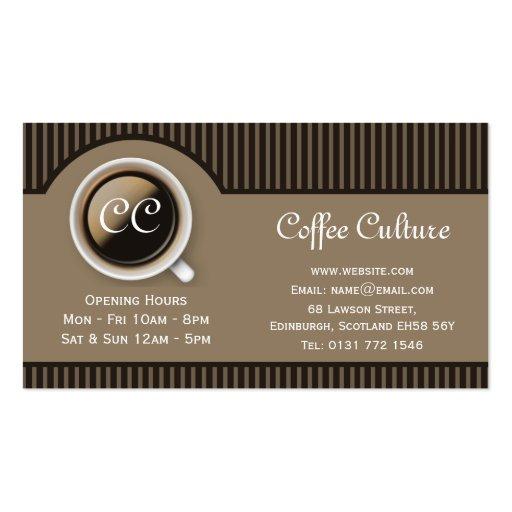 Tarjeta de visita de la cafetería de Stripey 2