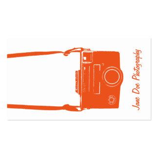 Tarjeta de visita de la cámara del naranja y del b