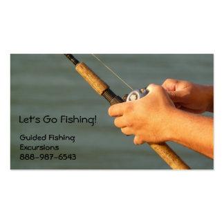 Tarjeta de visita de la caña de pescar y del carre