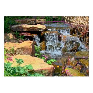 tarjeta de visita de la cascada del jardín