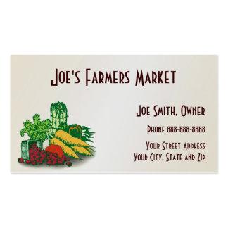 Tarjeta de visita de la comida sana del mercado de