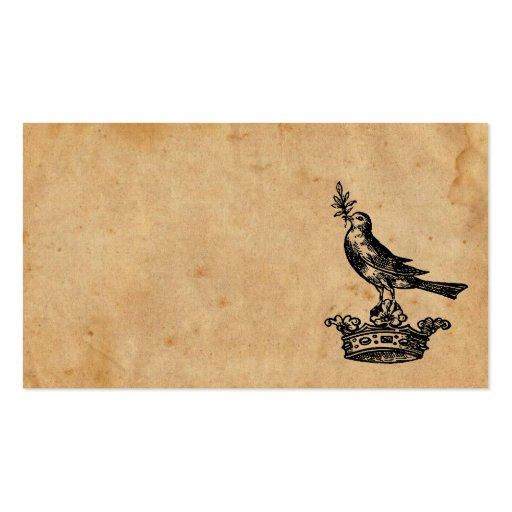 Tarjeta de visita de la corona y del pájaro
