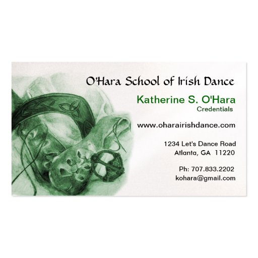 Tarjeta de visita de la danza del irlandés