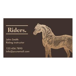 Tarjeta de visita de la equitación del moreno del
