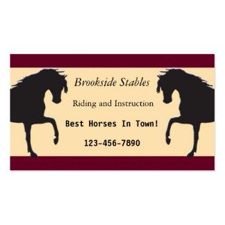 Tarjeta de visita de la equitación