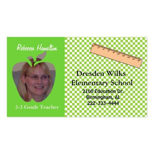 Tarjeta de visita de la foto del profesor verde y