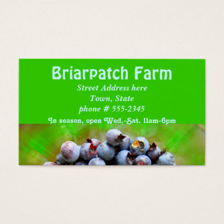 Tarjeta de visita de la granja de los arándanos