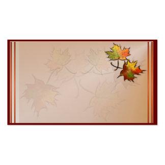 Tarjeta de visita de la hoja del otoño