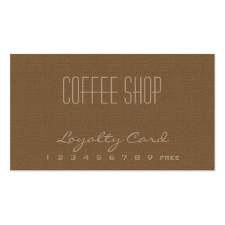 Tarjeta de visita de la lealtad de la cafetería