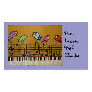 tarjeta de visita de la lección de piano
