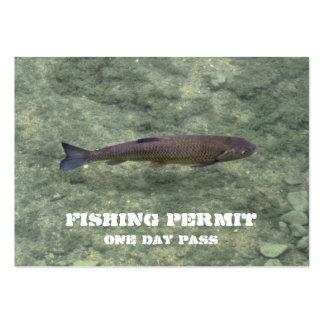 Tarjeta de visita de la licencia de pesca
