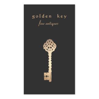 Tarjeta de visita de la llave del oro del vintage
