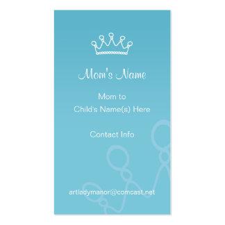 Tarjeta de visita de la mamá - corona azul