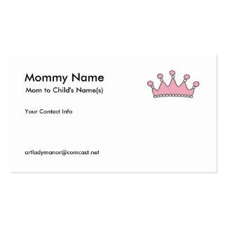 Tarjeta de visita de la mamá - tiara rosada