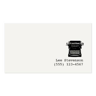 Tarjeta de visita de la máquina de escribir del