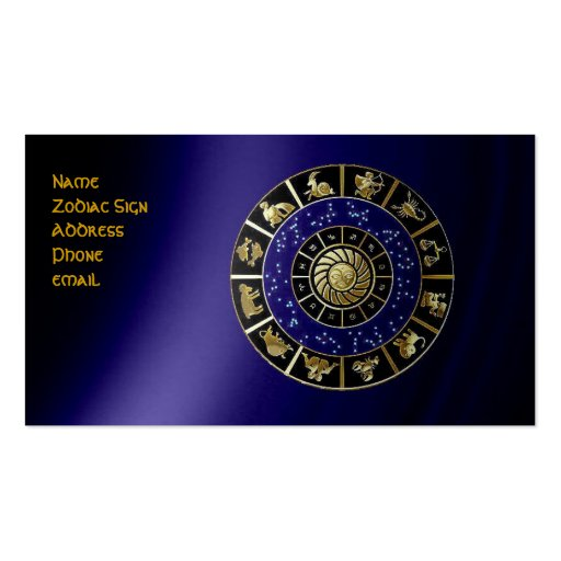 Tarjeta de visita de la muestra del zodiaco