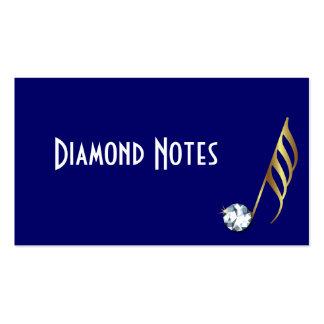 Tarjeta de visita de la nota musical del diamante