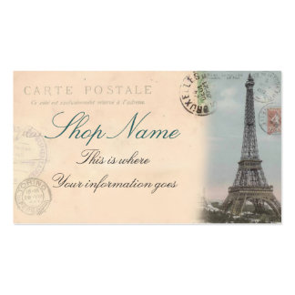 Tarjeta de visita de la postal de París