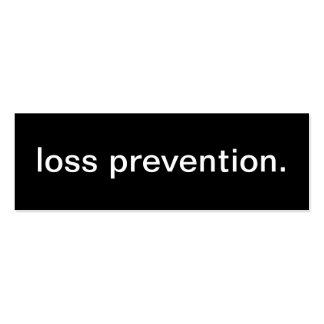 Tarjeta de visita de la prevención contra pérdidas