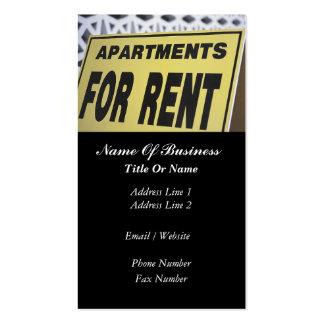 Tarjeta de visita de la propiedad de alquiler