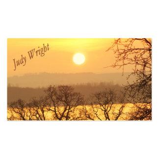 Tarjeta de visita de la puesta del sol del inviern