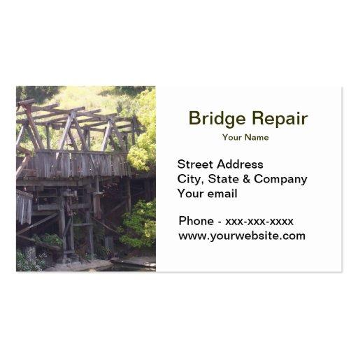 Tarjeta de visita de la reparación del puente