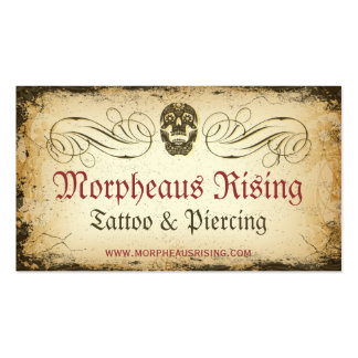 Tarjeta de visita de la sala del tatuaje del cráne