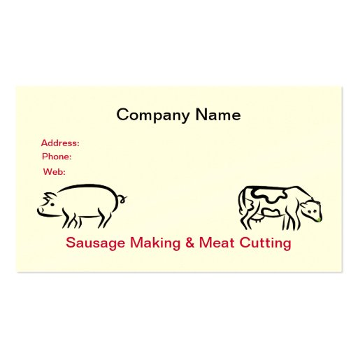 Tarjeta de visita de la salchicha y de la carne